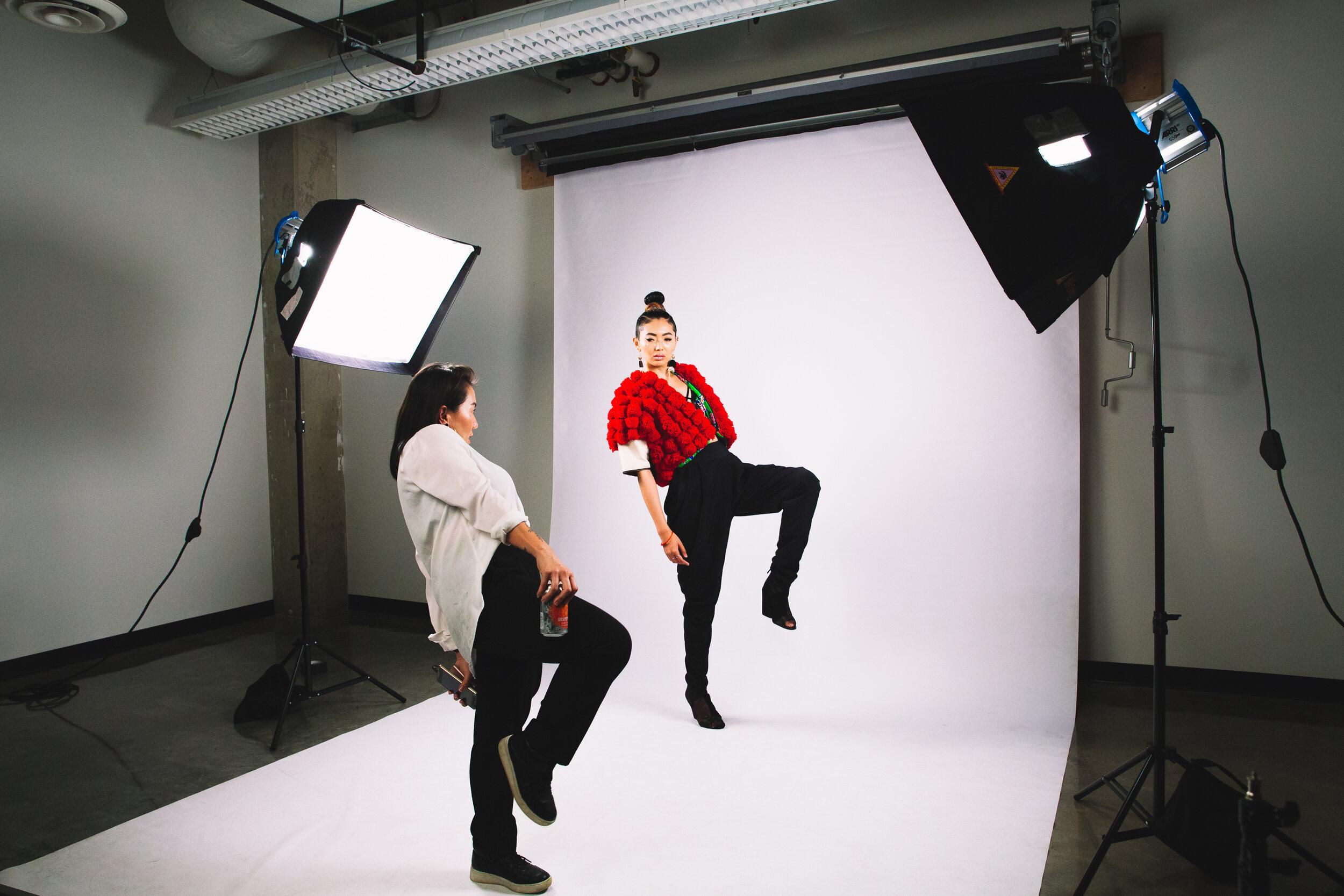 Oskar art directing behind the scenes with model Xiaolu.