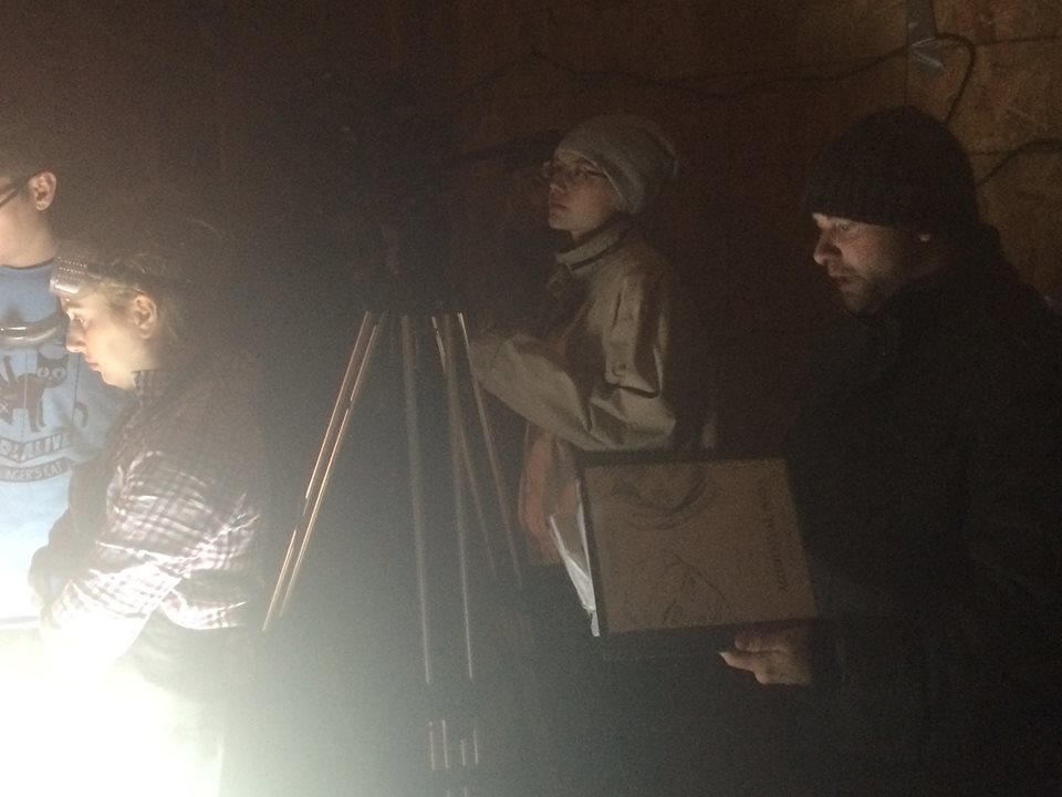 Ren with his film binder on the set of  Accidental Gods.