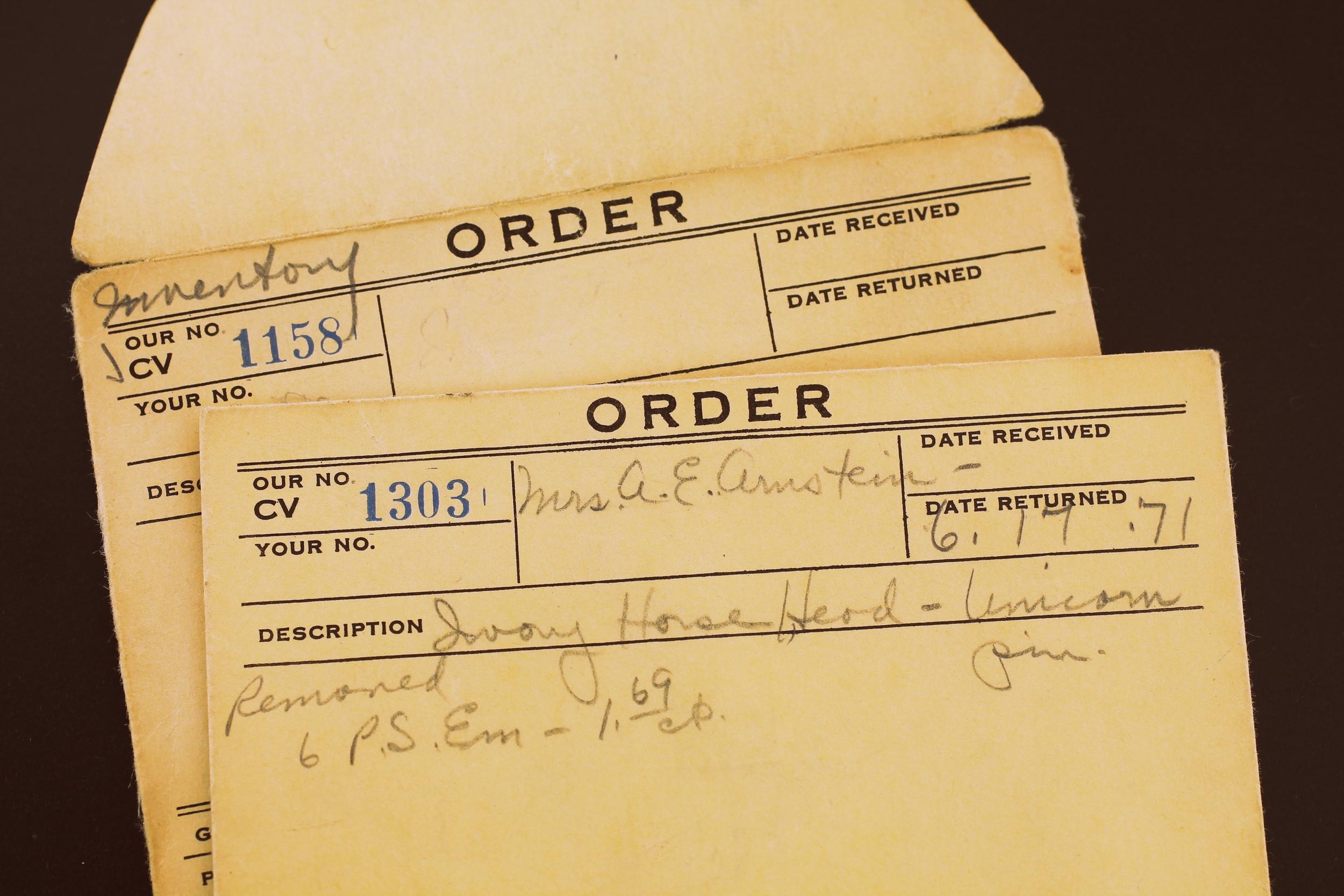 Vaillant work order envelopes (CV 1158; CV 1303), circa 1971