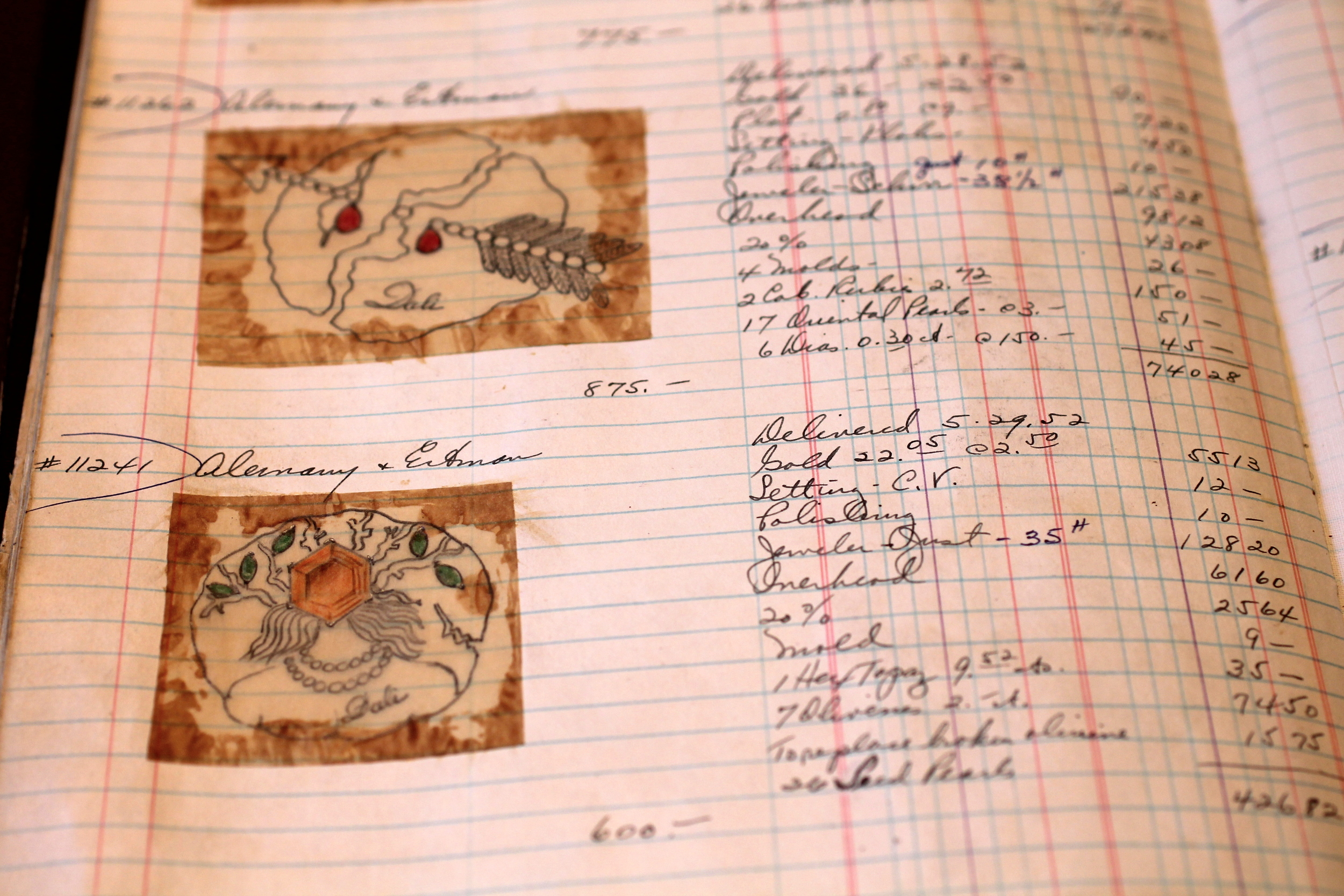 Journal entries with artist renderings of jewelry completed for  Alemany & Ertman, circa 1952