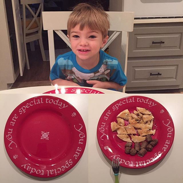 It's family tradition to eat off the red plate on your birthday, so today Lincoln gets to use it for birthday #3!  Chocolate chip pancakes and sausage (his favorite). Love this little guy and so thankful to be his Dad!
