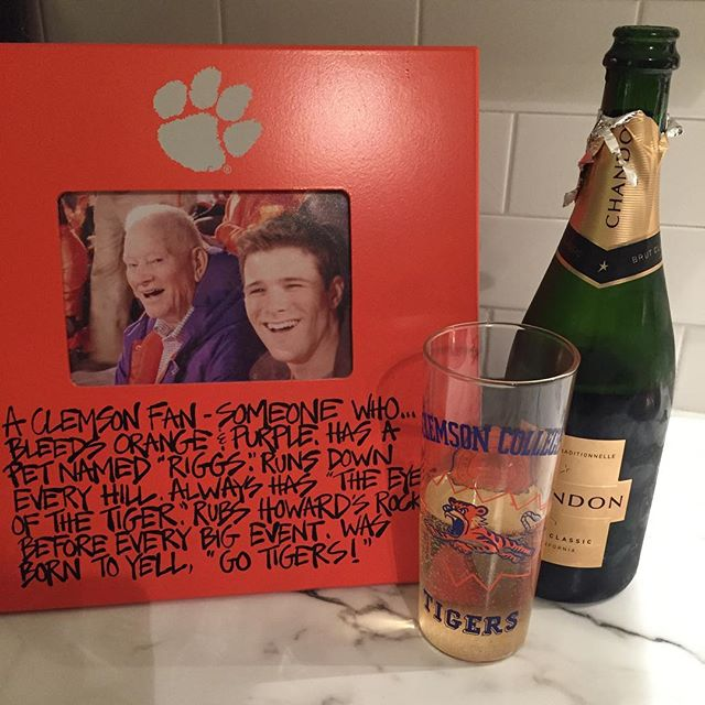 I meant to drink this last year to celebrate a Tiger victory...it sat in our spare fridge taking up space for a whole year.  Now I understand that it just needed to age one more year. So proud to be a Clemson alum tonight, and thankful for my Grandy who showed me how to be a Tiger fan!  #nationalchampions #clemson #gotigers