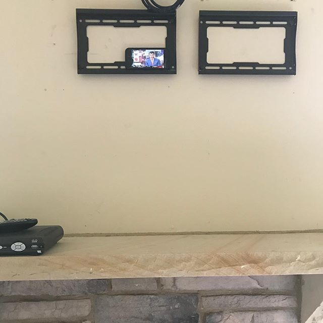 I finally broke down and bought the family a flatscreen tv. Check it out. I actually hung this on the wall myself. Sometimes I will just stand here and watch television for hours. #brokentv #pleasehurrytvrepairman #collegegameday