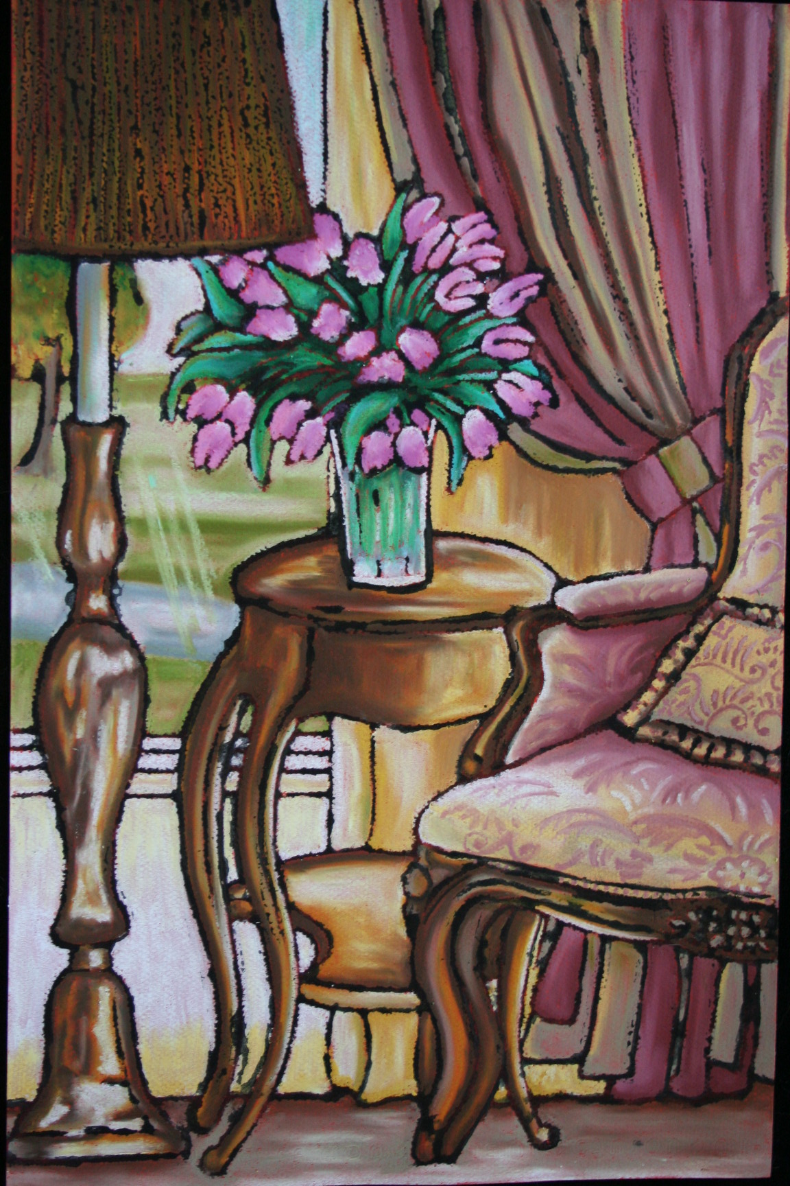 Yellow Pink Wing Chair with pink tulips (5).jpg