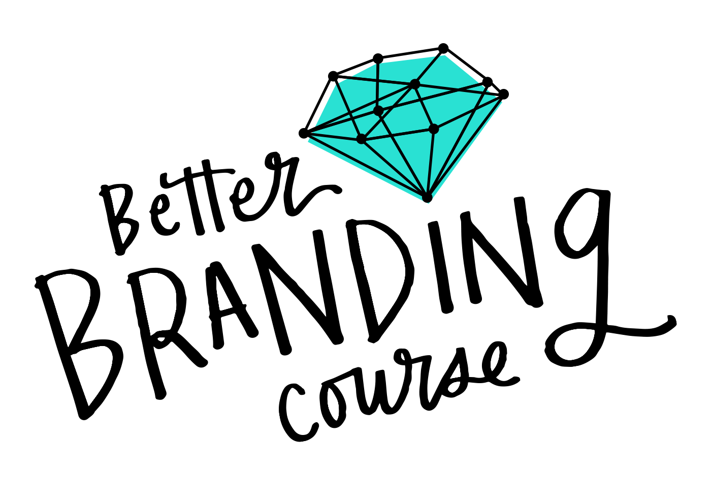 Caroline' Zook's Better Branding Course. A logo image, the title of the course is written in a swirly black handwriting with a black and turquoise illustration of a diamond on top