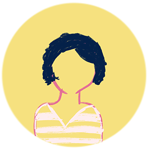 IMage: An avatar of Lynne, a yellow circle with an illustration of a woman, she's wearing a light pink stripy shirt and has cheek length hair