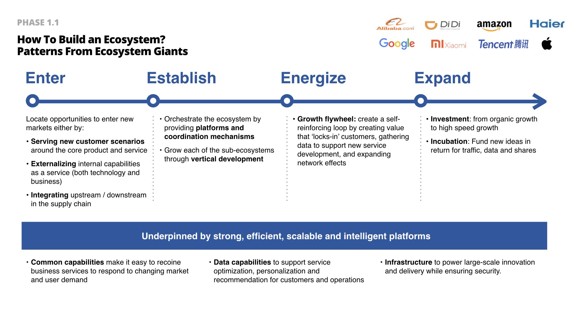 Ecosystem evolution map:  Enter, Establish, Energize & Expand