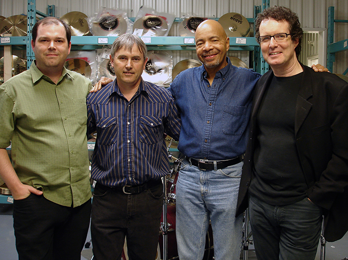 LEFT TO RIGHT: ANDREW HERYGERS (COMMUNICATION DESIGN MANAGER), MARK LOVE (MASTER CYMBAL ARTISAN), CHESTER THOMPSON (GENESIS, FRANK ZAPPA, & WEATHER REPORT), AND WAYNE BLANCHARD (SENIOR MARKETING MANAGER).
