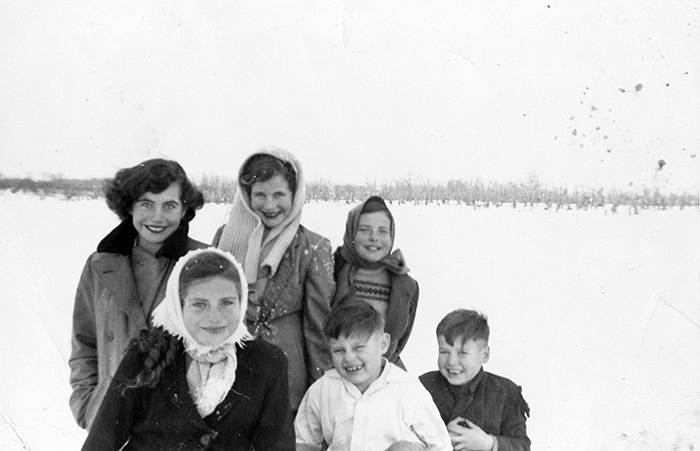 Adjusting to Canada - Parkhill, Ontario, Canada (Back left to right: Mary, Catherine, Johanna) (Front left to right: Ann, Bill, and Jack)