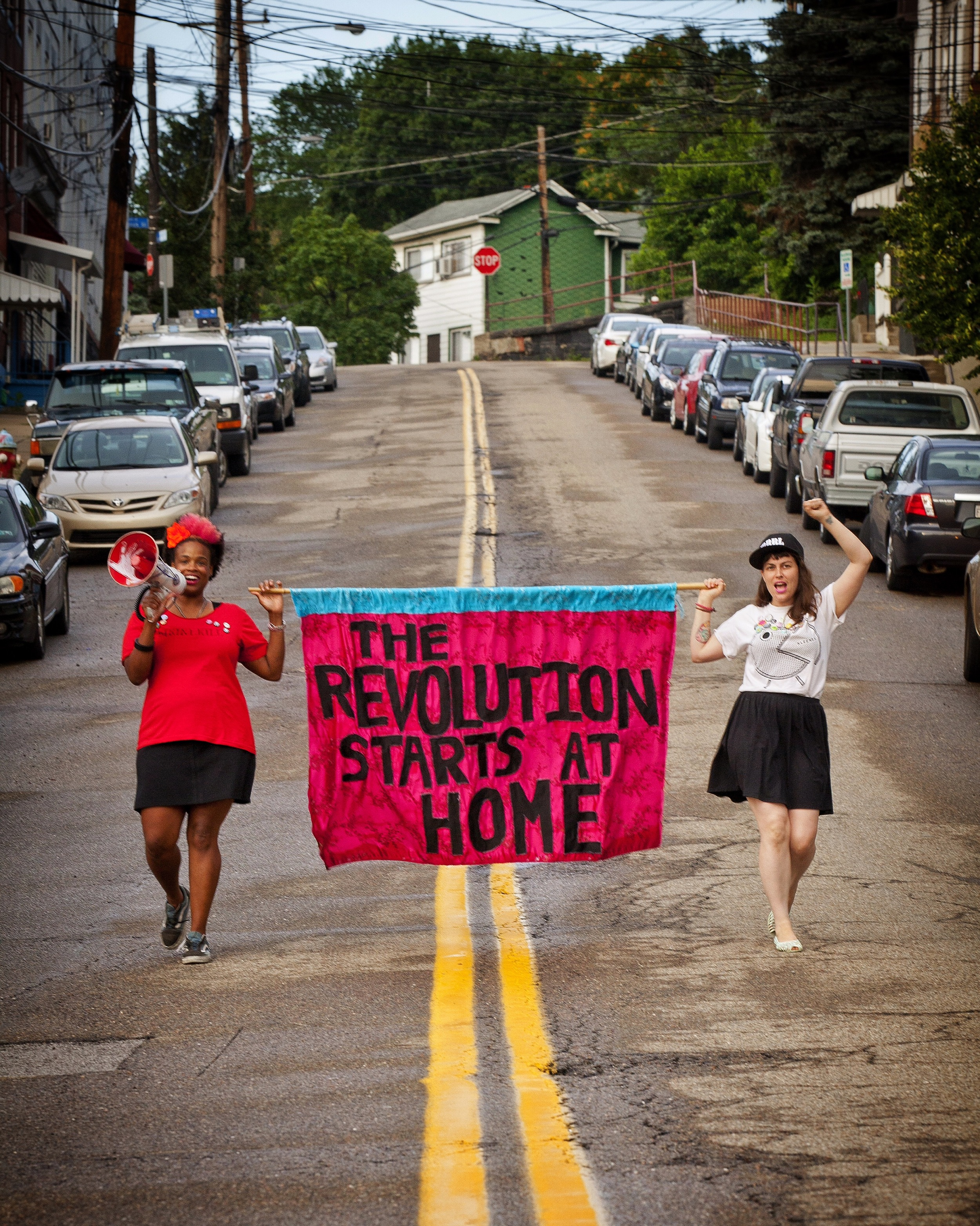 Activists Athena  Kazuhiro and Steph Flati, organizers of the Ladyfest 2015 Pittsburgh music festival, take it to the streets of Polish Hill in Pittsburgh for a portrait I made for the cover of Pittsburgh City Paper. To read the full archived story, go to:   http://www.pghcitypaper.com/pittsburgh/under-a-new-name-ladyfest-returns-with-a-lineup-of-female-dominated-bands/Content?oid=1840286