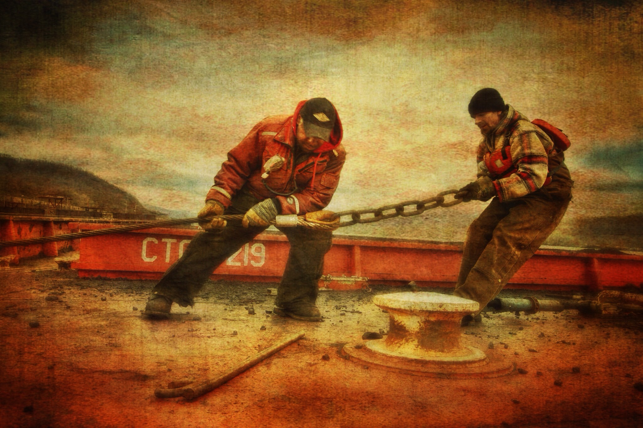 """"""" Barge Workers on the Ohio River ,"""" photo-based illustration, 2016."""