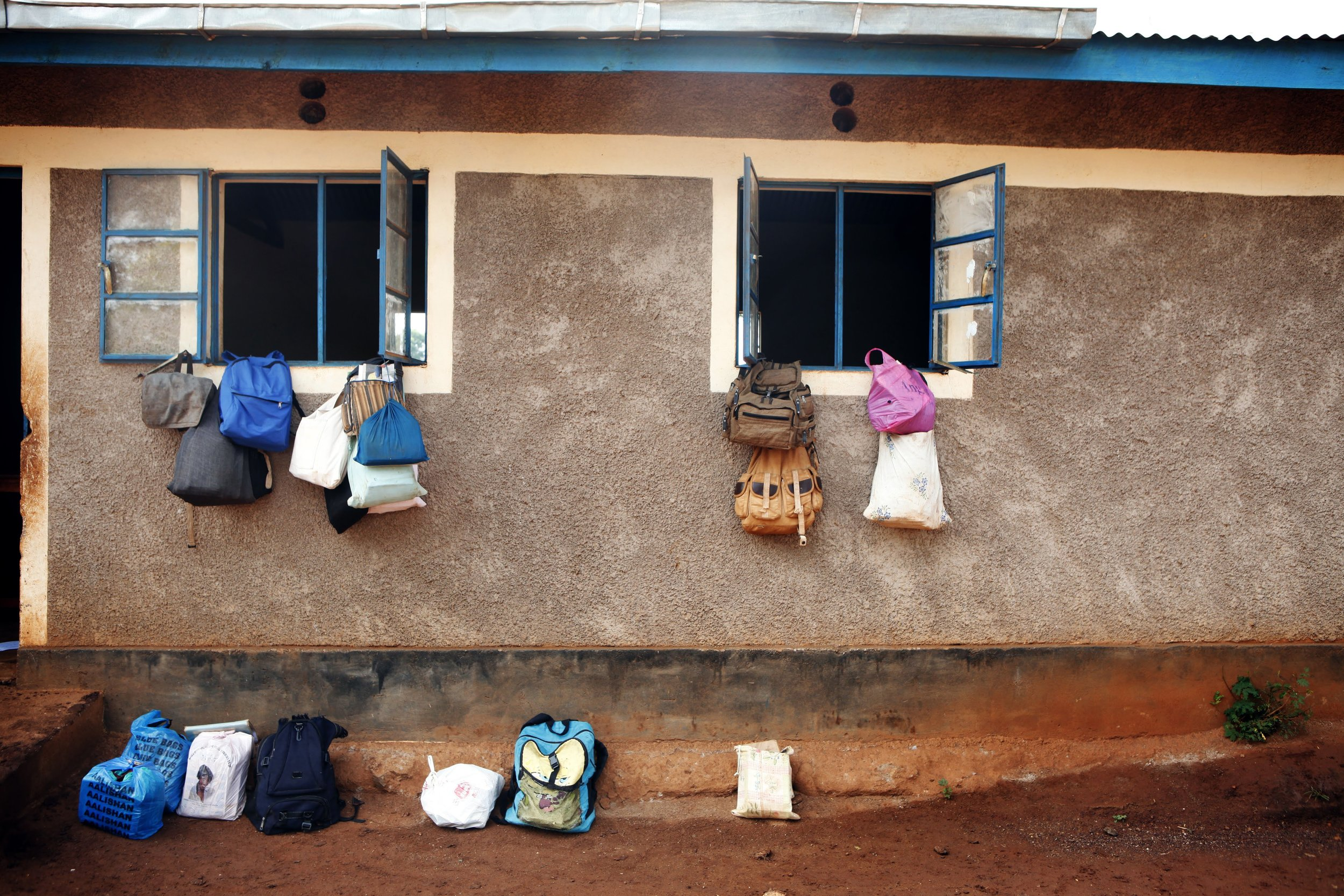 School bags outside the classroom