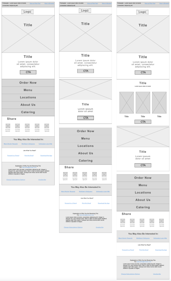 Lo-Fidelity Wireframes - Using the guidelines from NNG, I was able to create a relatively small amount of components that could be used in diffferent email templates.
