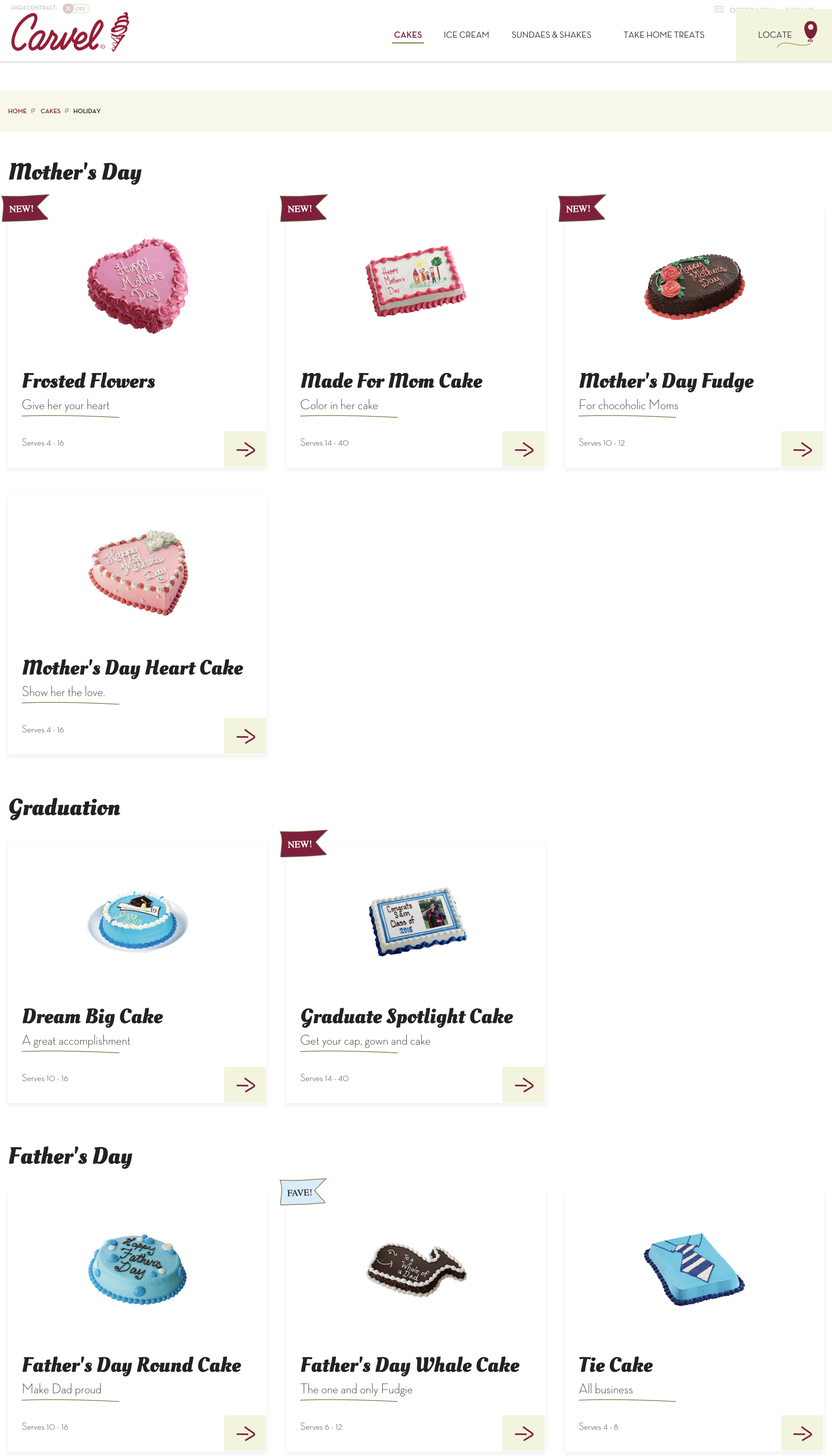 Holiday Cakes - We found out from customers that they typically look for cakes a few weeks before an upcoming event, especially Father's Day, Halloween, and Thanksgiving. By grouping the cakes by holiday then dynamically organizing them by nearest date we improved the customer experience and improved the workflow for our content managers.