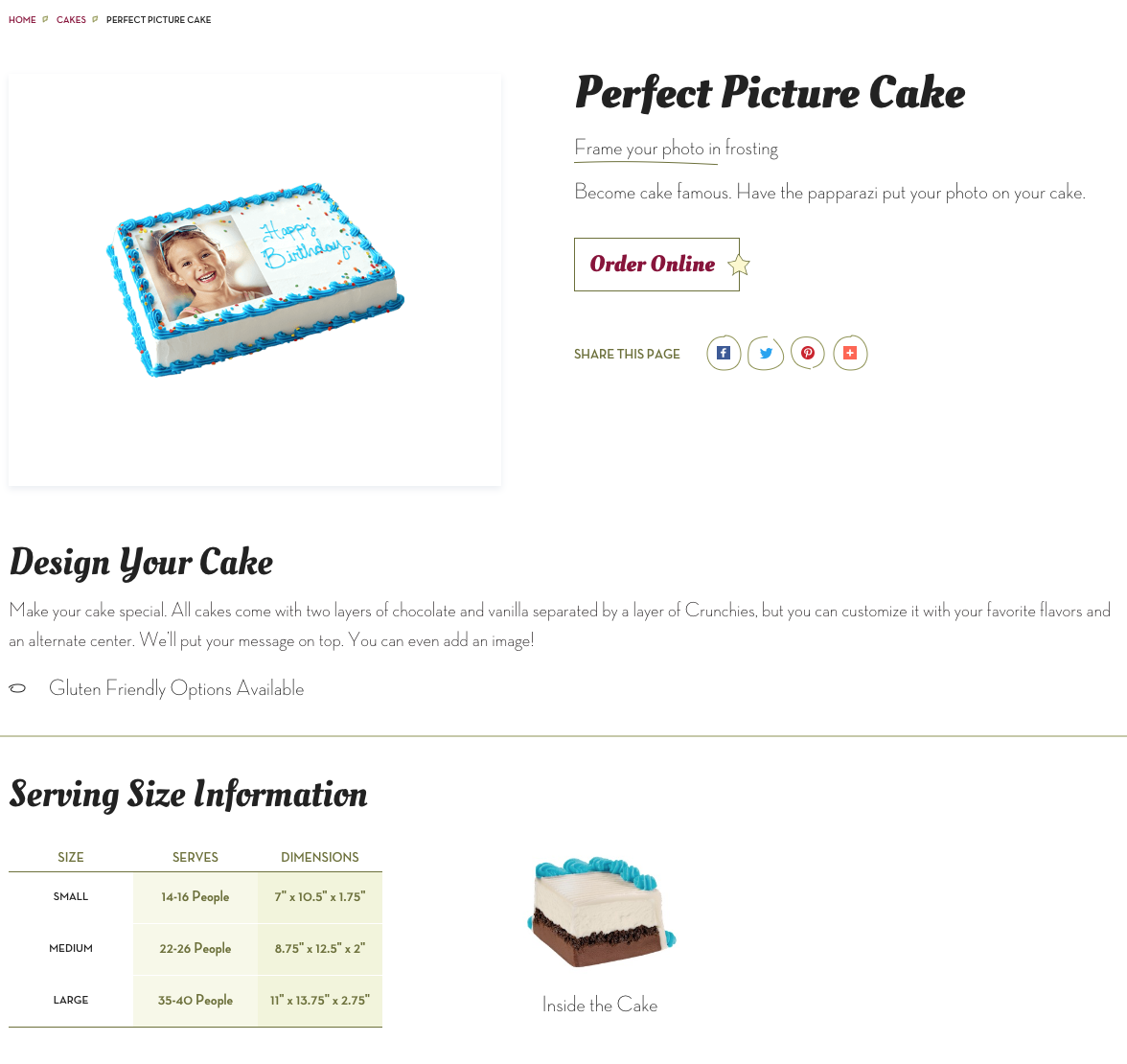 Cake Detail PAge - We were included allergen friendly options, serving size information, and the dimensions for customers to know if they could fit the cake in their freezer.