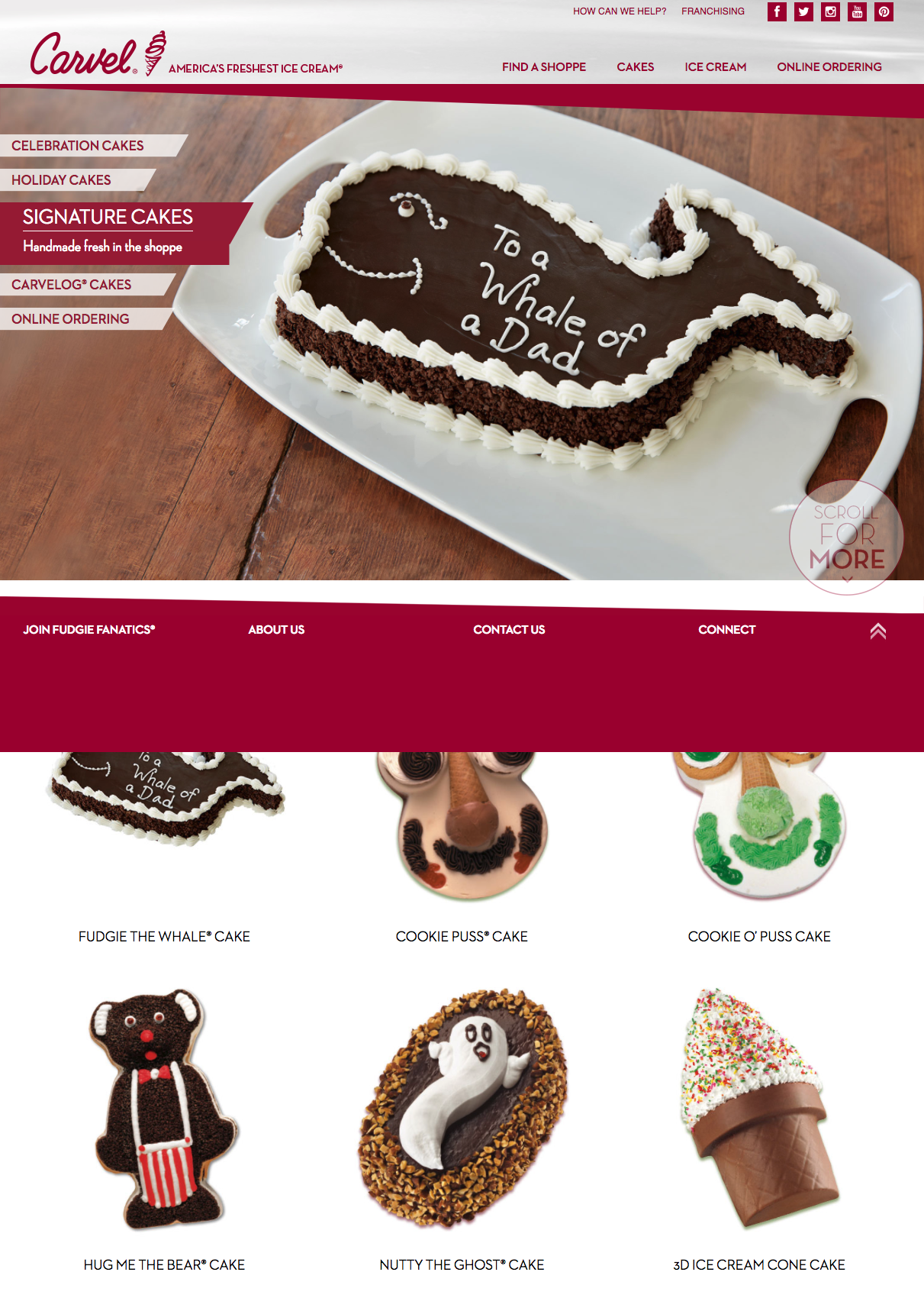 The Old Carvel Website - Desktop - The previous Carvel website fairly simple but had many outdated features, such as an automated carousel for advertisements and limited time offers.