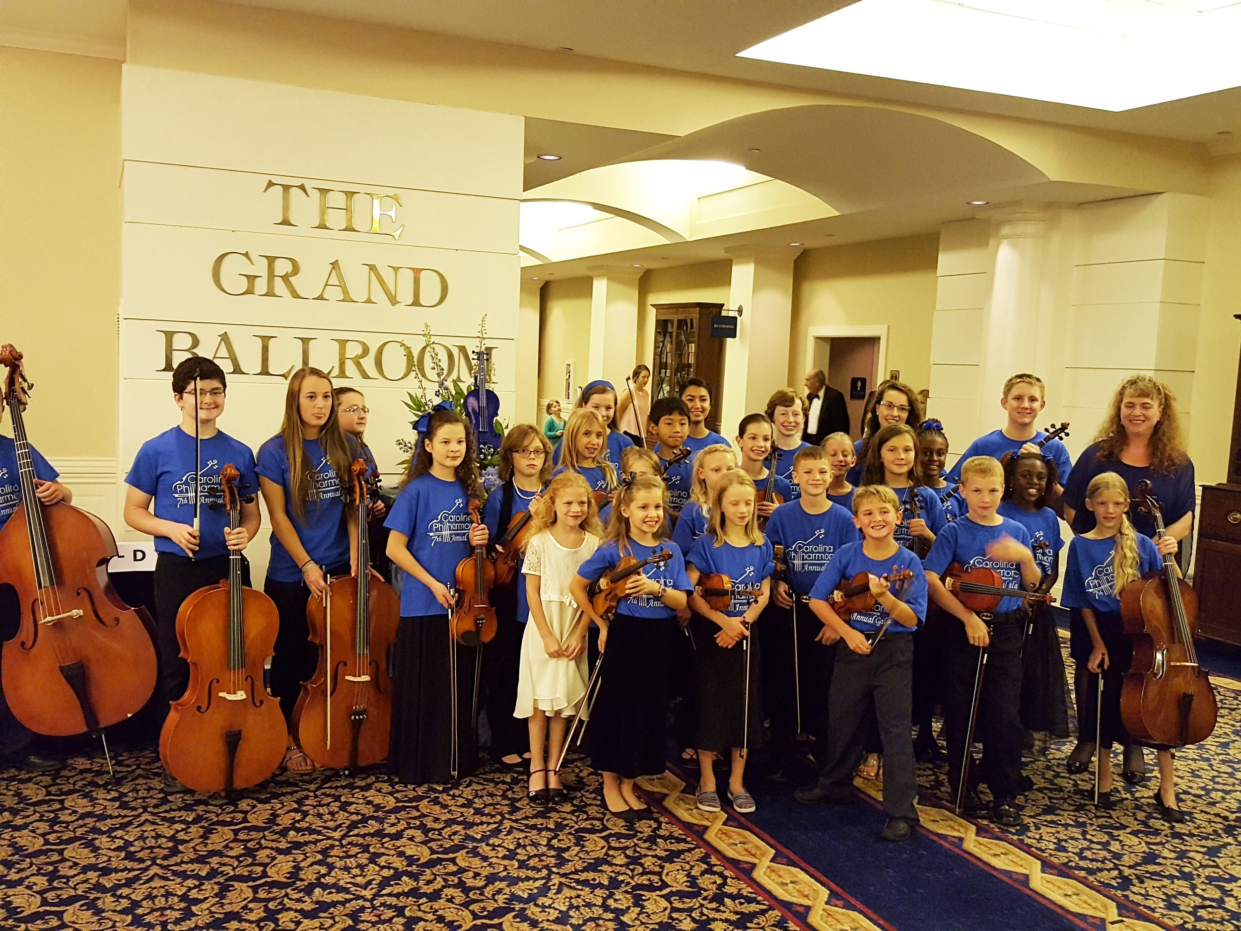 Carolina Philharmonic Junior Orchestra (pictured at Gala for Music Education)