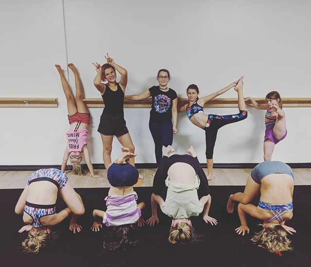 Acro class last night was so much fun! This class is full of really great friends.  #fun #acro #friends #headstand #teddy  #smallstudiobigheart