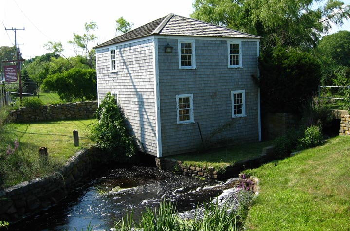 The Baxter Gristmill, on the shores of Mill Creek in West Yarmouth.