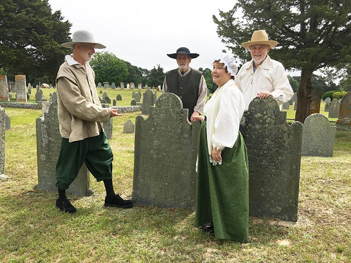 Pilgrim Stephen Hopkins, Yarmouth's first homeowner,  points out the resting place of Peregrine White.