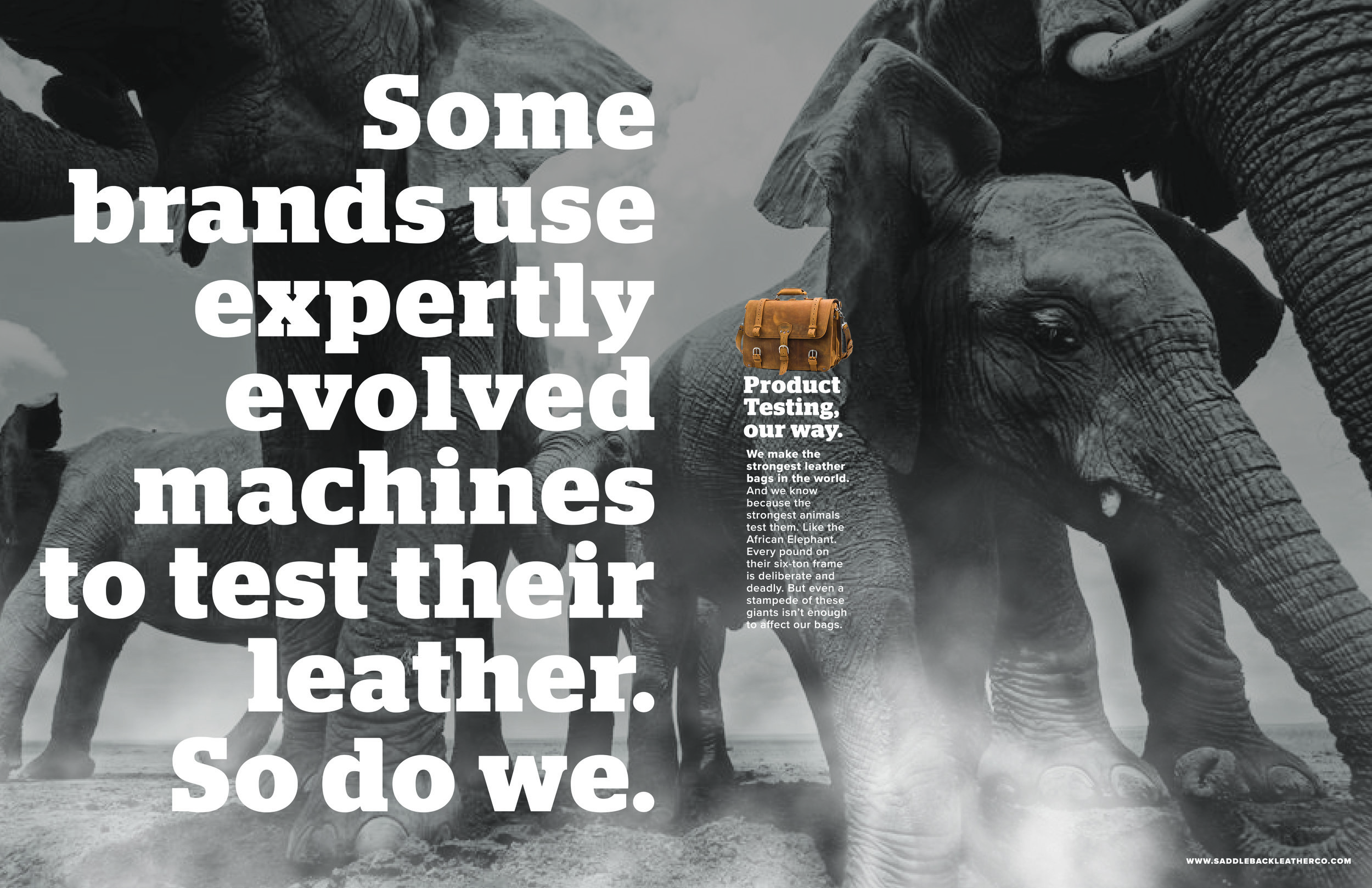 Body Copy:  We make the strongest leather bags in the world. And we know because the strongest animals test them. Like the African Elephant. Every pound on their six-ton frame is deliberate and deadly. But even a stampede of these giants isn't enough to affect our bags.