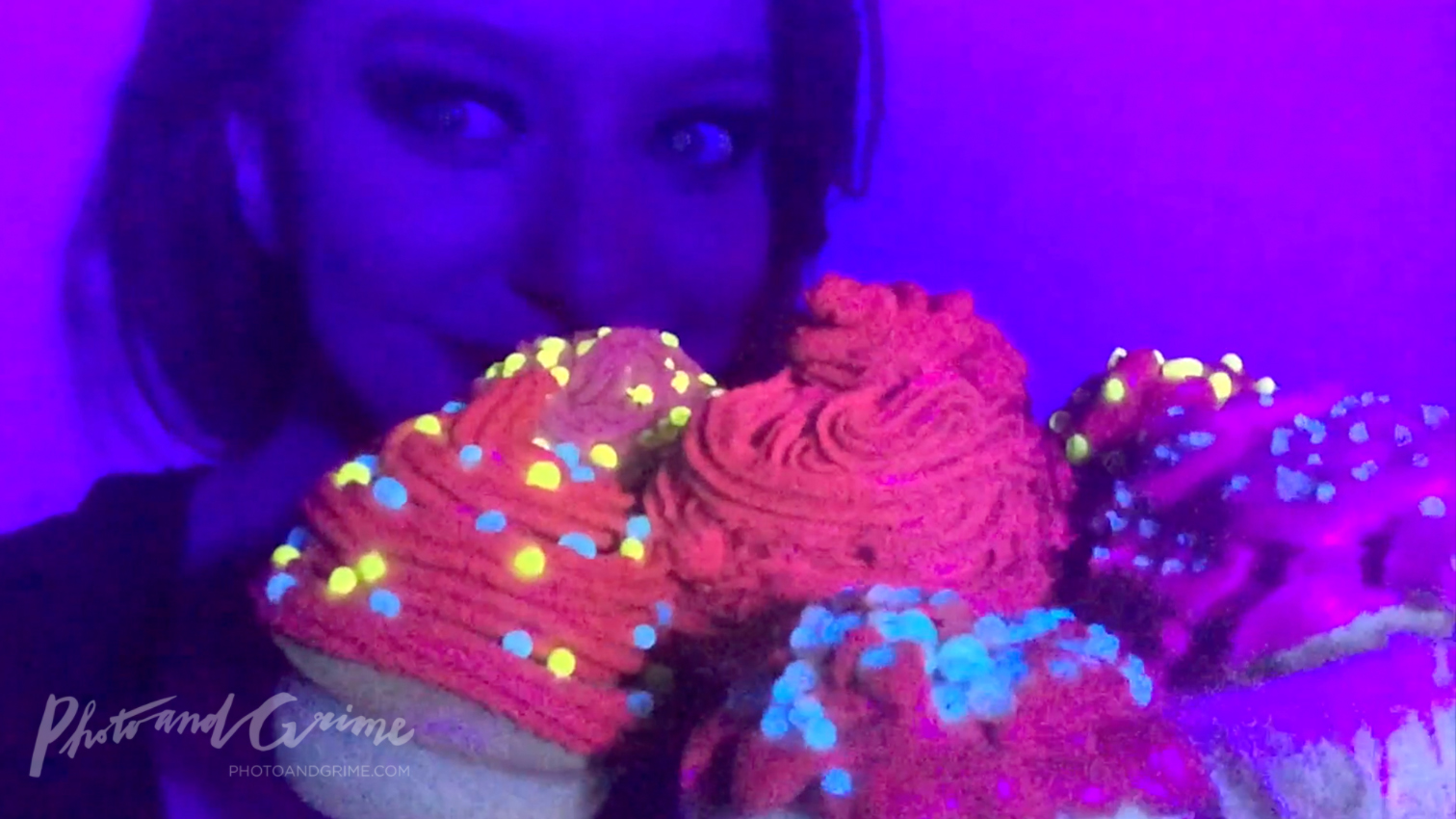 Edible pink UV Glow in the Dark cupcakes I made with chlorophyll.