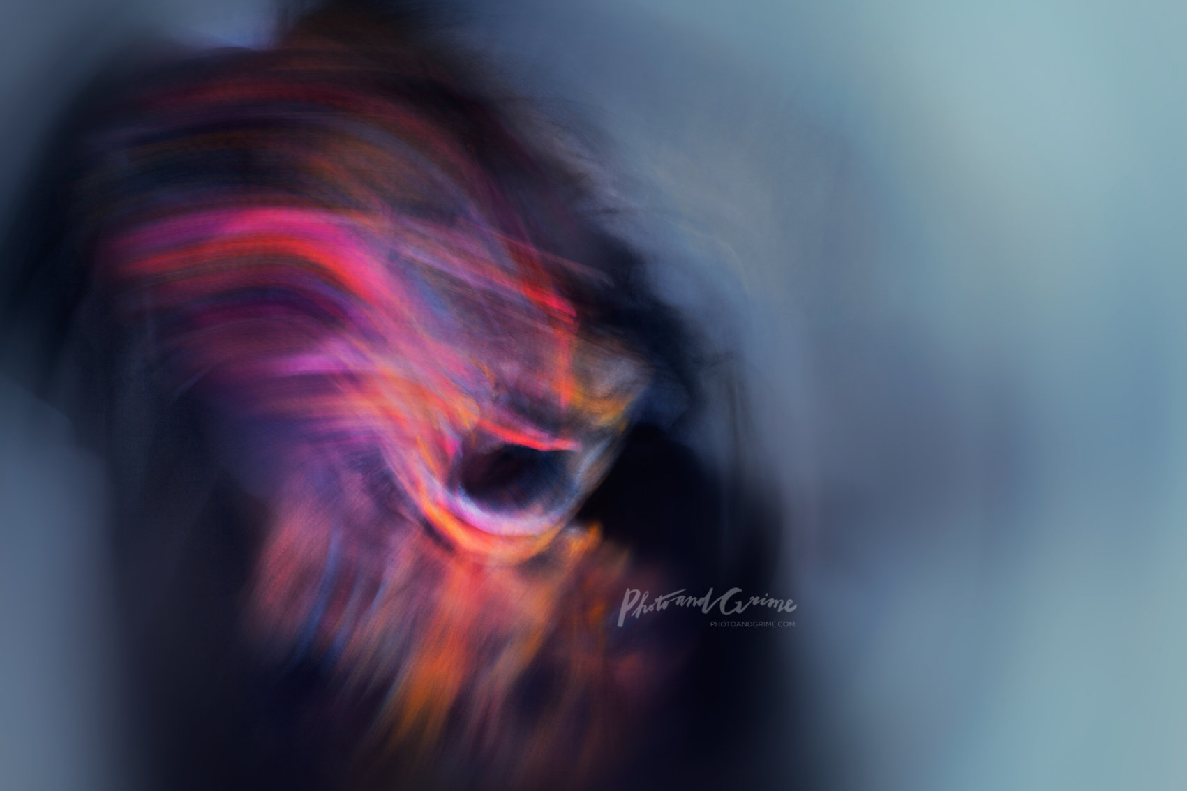Monster self portrait (2015). UV blacklight and indirect (reflective) light painting.