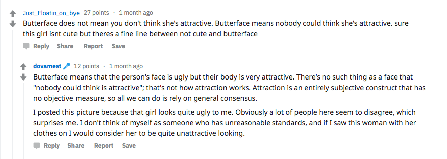 What is 'butterface'? Users active inside the subreddit discuss the definition.
