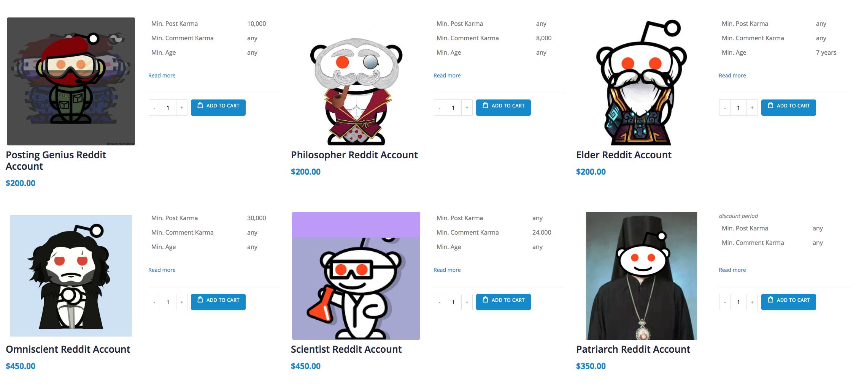 A website selling Reddit accounts.