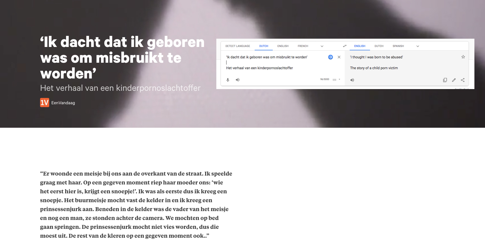 Example of a  Dutch article  in which the word 'abuse' is used to refer to child sexual abuse.