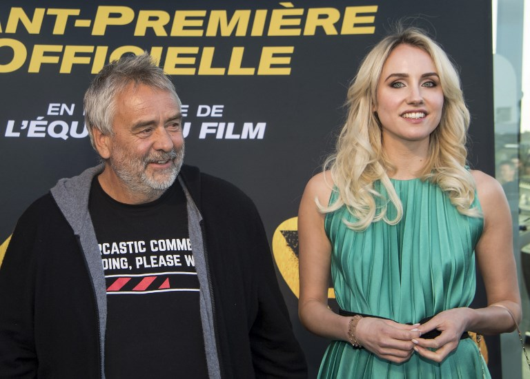 Luc Besson and Sand Van Roy. Photo: AFP