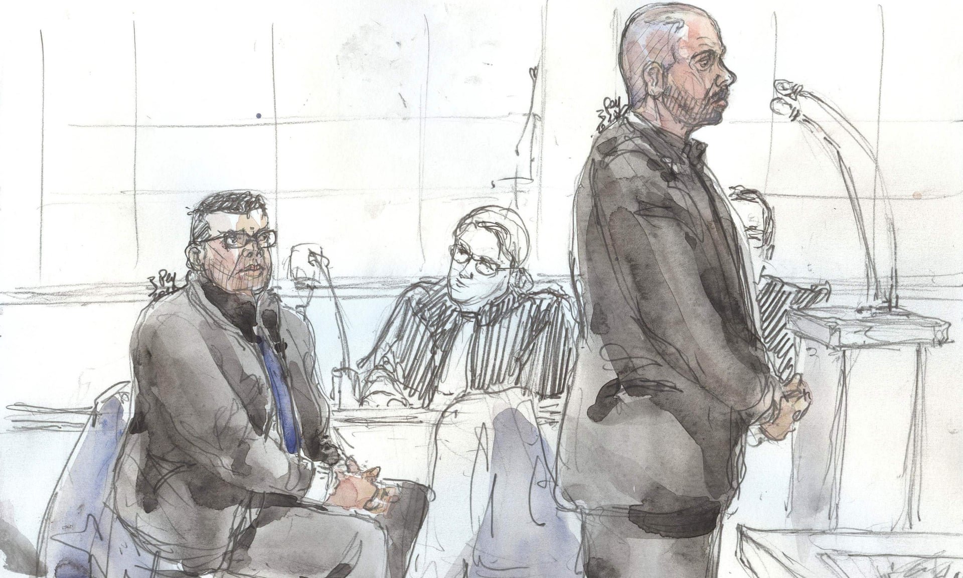 Court sketch of Antoine Q and Nicolas R, the police officers accused of raping a Canadian tourist. hoto: Benoît Peyrucq/AFP/Getty Images