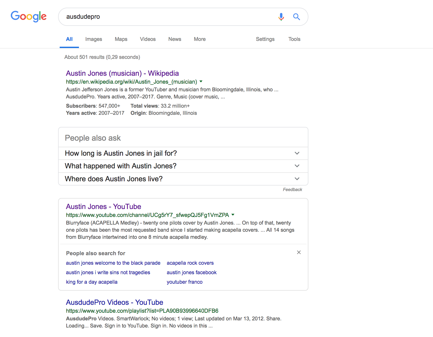 Youtuber Austin Jones' youtube channel on February 7, 2019. Photo: Google
