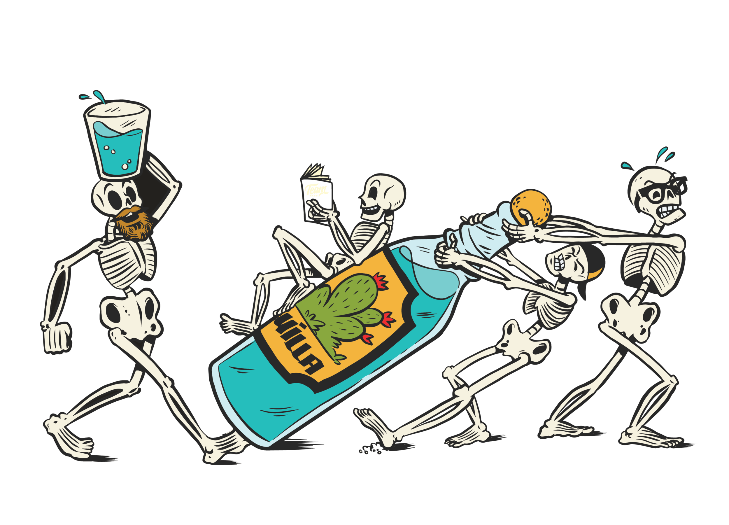 THE SKELETON CREW - Team Taco consists of 4 crew members. They run it thin, but you would never know it. We created The Skeleton Crew to pay homage to the 4 founders. Always down for a party, these 4 are working hard to have a good time.