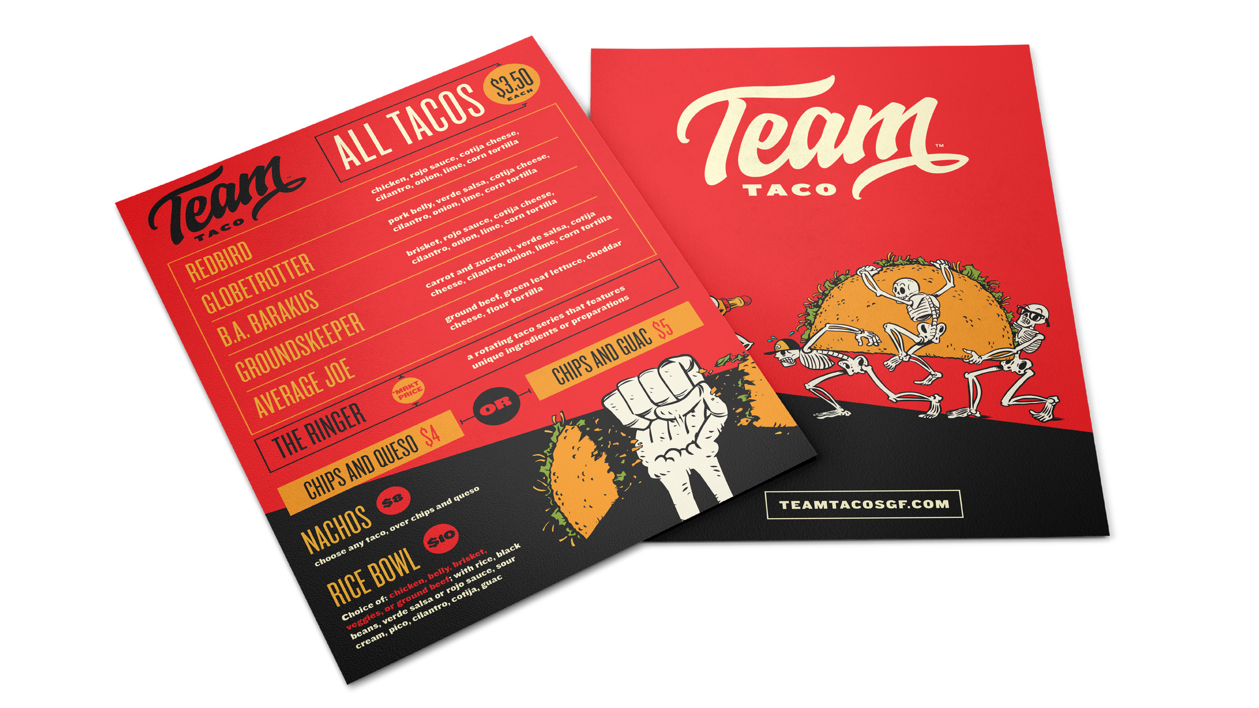 MENUS, MERCH, AND MORE - Team Taco has a big personality in a little space. We created menus, signage, merchandise and more to make every touchpoint in the restaurant feel touched and considered.