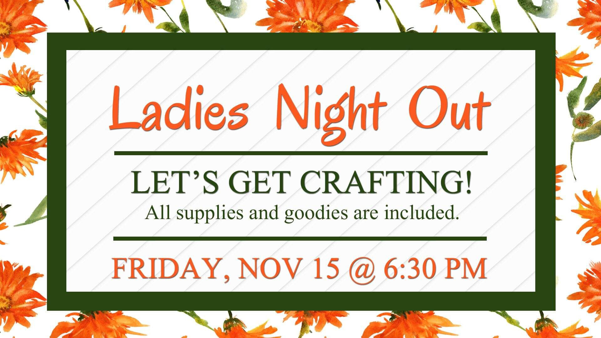 Craft Night - We're going to make-and-take wood ornaments, fabric ornaments, burlap angels, and two adorable snowmen. You'll enjoy cookie decorating, pretzel dipping, prizes, a donut wall, soup and sandwiches. Everything is free so bring a friend!