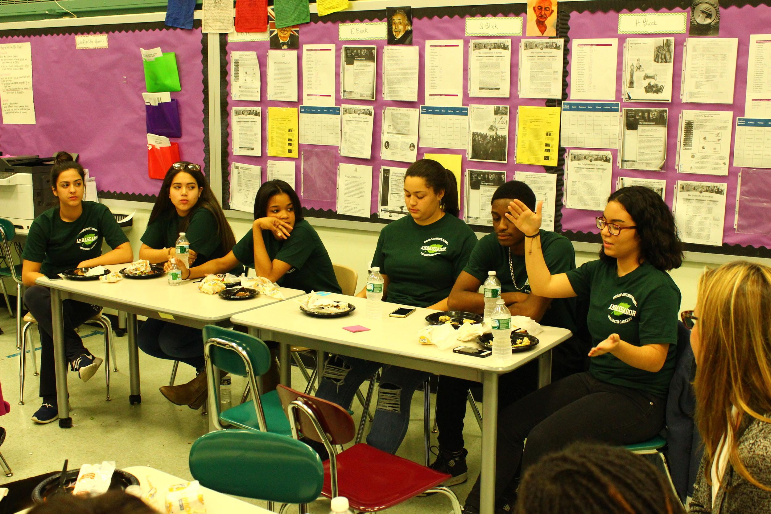 Senior Fradaliza Valdez, far right, explaining responsibility-based self control