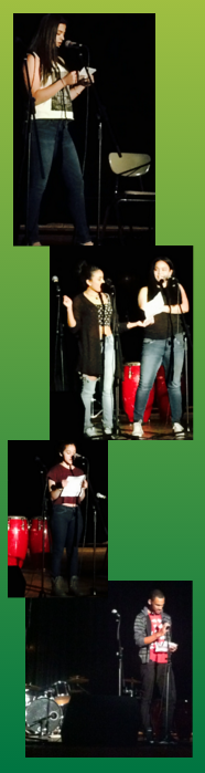UAGC poets: Azra Muratovic, Lisa De Los Santos and Candy Gonzalez, Ashley Valera, and Enmanuel Heredia