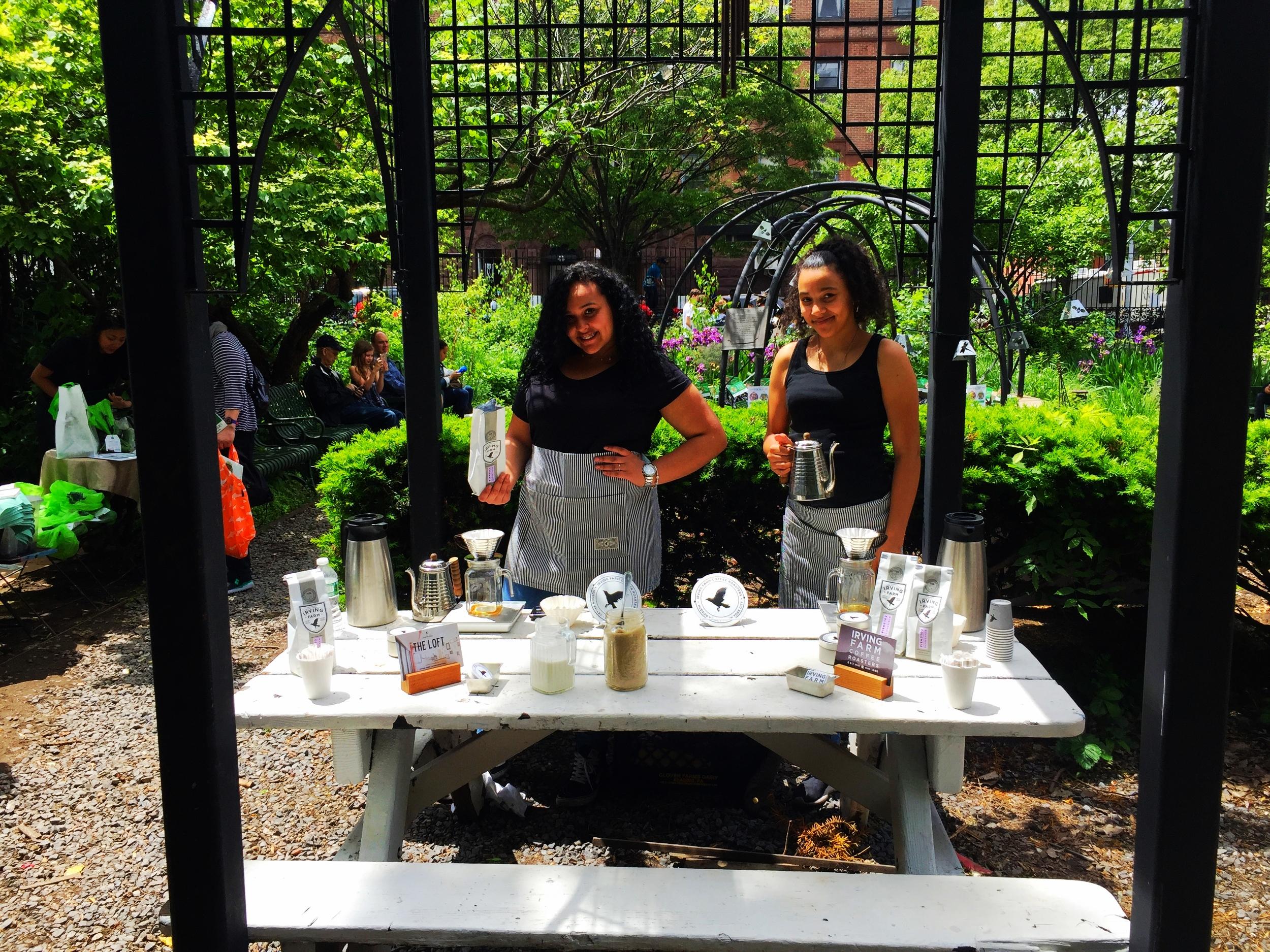 Sophomores Johancarla Taconas and Alysha Ramirez provide service with a smile