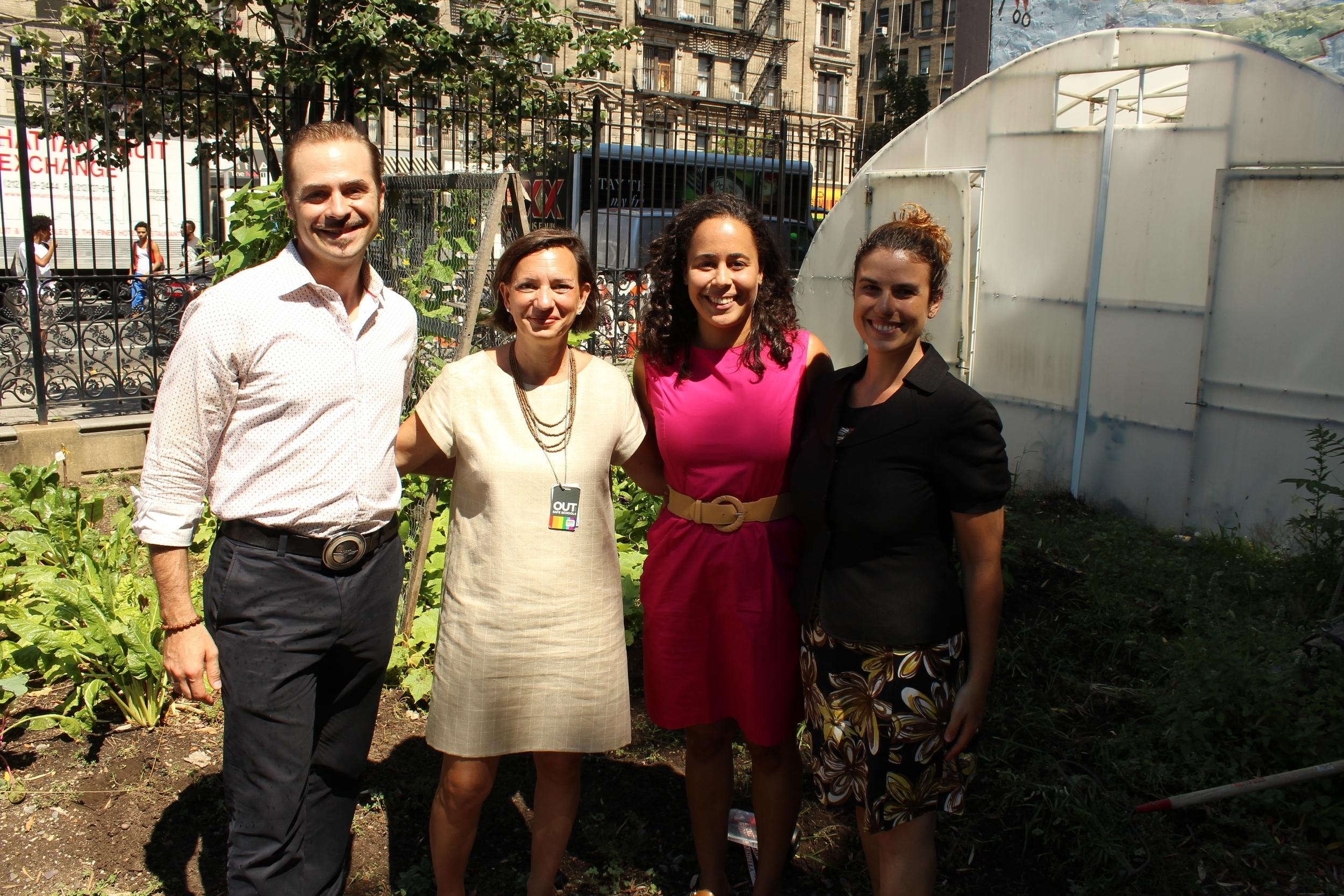 From left:Assistant Principal Luke Janka, Deputy Chancellor Elizabeth Rose, Principal Madeleine Ciliotta-Youn, and new Assistant Principal Daphne LaBua-Stenzel