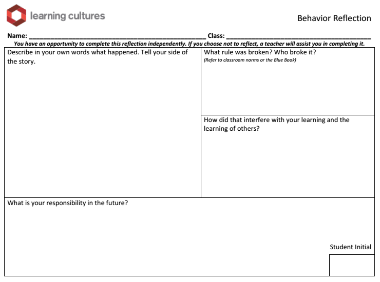 Behavior Reflection:  After two reminders about the expectation, students have an opportunity to reflect on the narrative of their behavior and make a commitment to change. If the behavior does not change, the student will have an opportunity to reflect with their teacher. The on-call teacher takes over for the classroom teacher so no student is deprived of a learning opportunity.