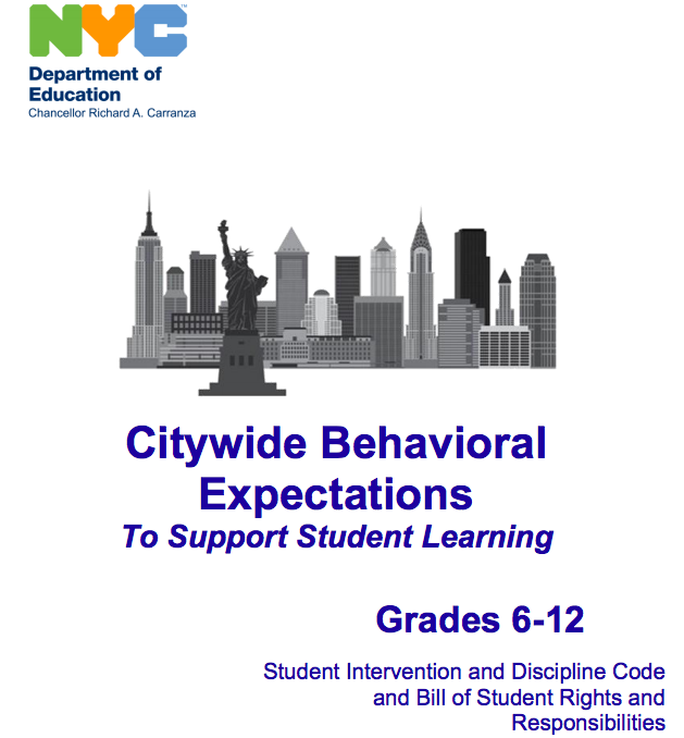 The Blue Book - The Discipline Code, or the Citywide Behavioral Expectations to Support Student Learning:- Is age-specific with one set for grades K-5 and another for grades 6-12.- Explains the standards for behavior in the New York City public schools- Describes supports, interventions, and disciplinary measures that schools can use when students misbehave- Explains how you can appeal decisions- Includes the Student's Bill of Rights and Responsibilities