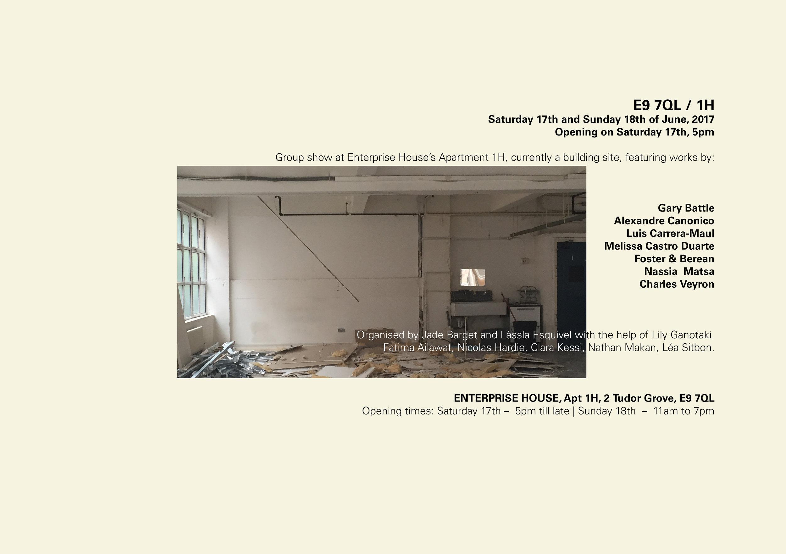 E9 7QL / 1H  - Sat 17 / 5pm – lateSun 18 / 11am – 8pmEnterprise House, Apt 1H, 2 Tudor Grove, E9 7QL, London