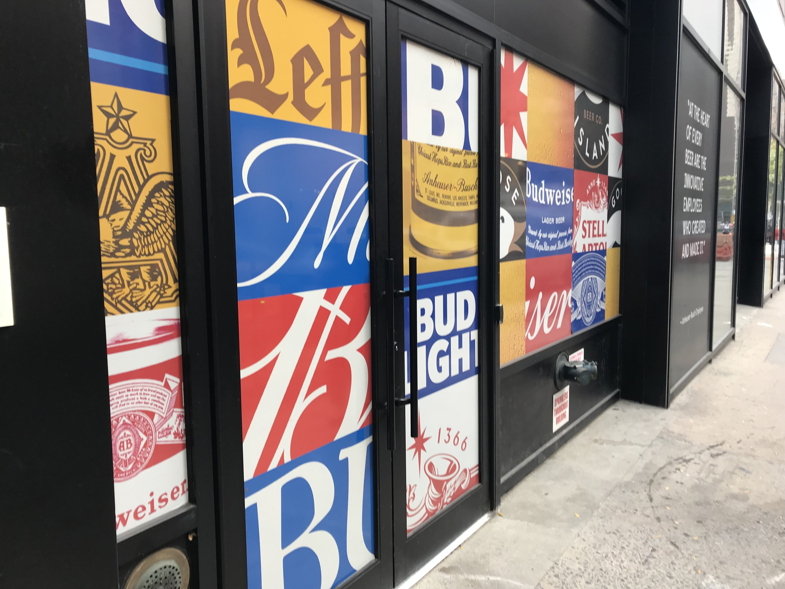 Anheuser Busch logos greet visitors outside.