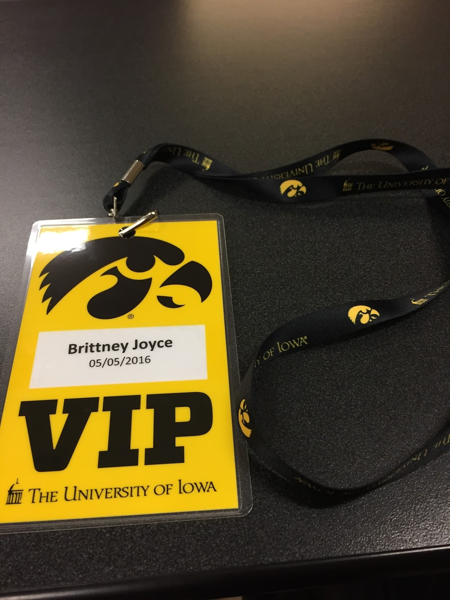 The University of Iowa provides every prospective student with a VIP badge to wear during tour. The back has a list of local restaurants in Iowa City.