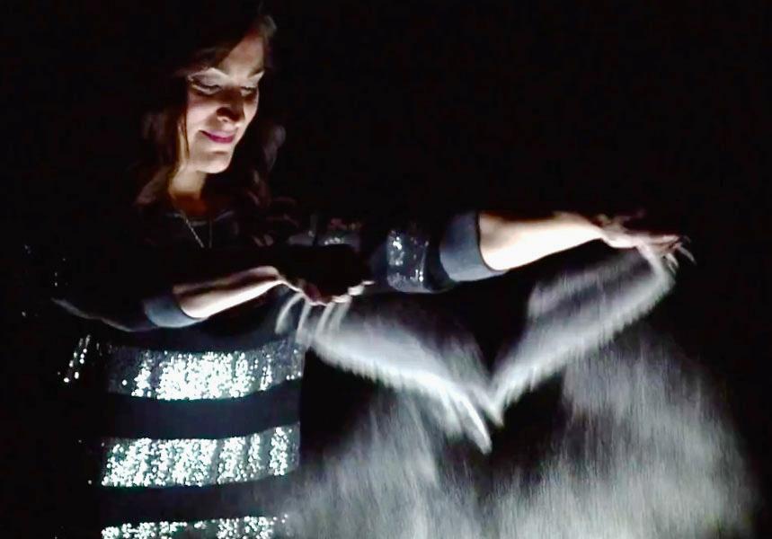 Sand Artist   Charlene Lanzel performing live in Las Vegas.