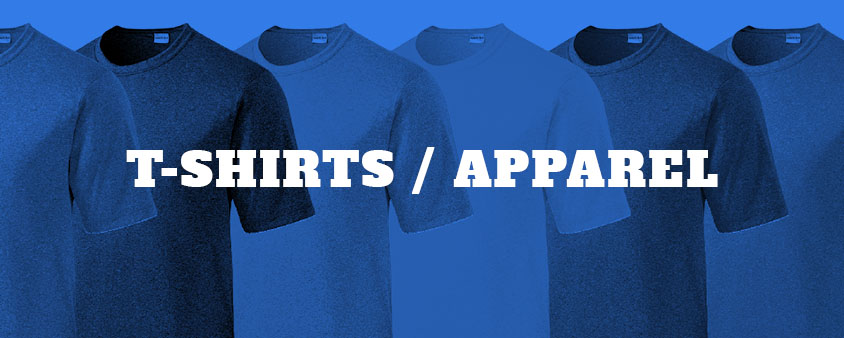 click to view customizable t-shirts, polo's, sweatshirts and other apparel.