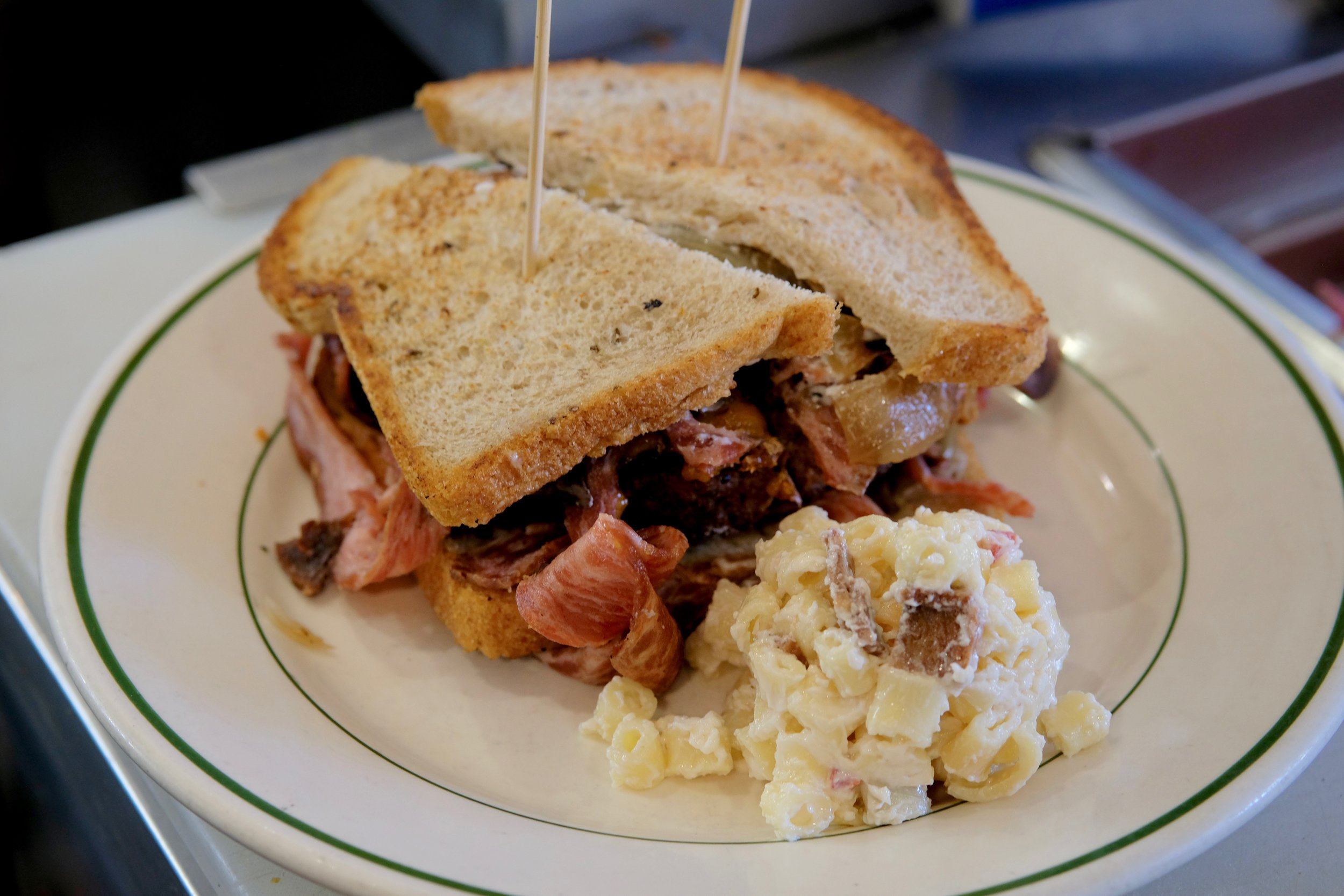 Patty Melt with a side of Bacon Macaroni Salad