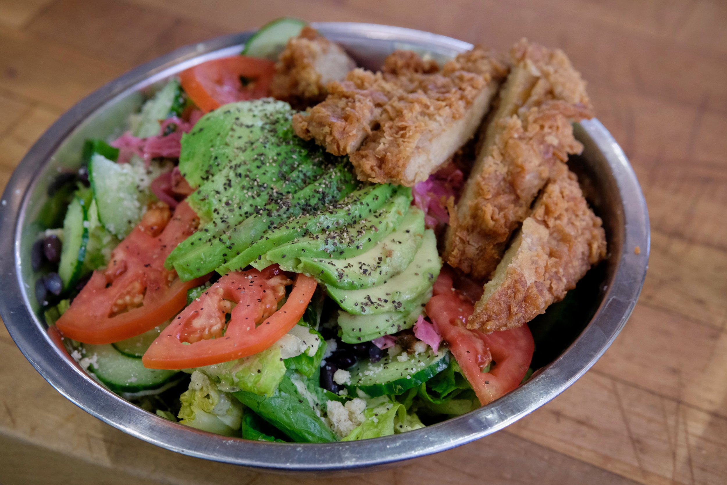 """OmSalada"" with Fried Chicken"