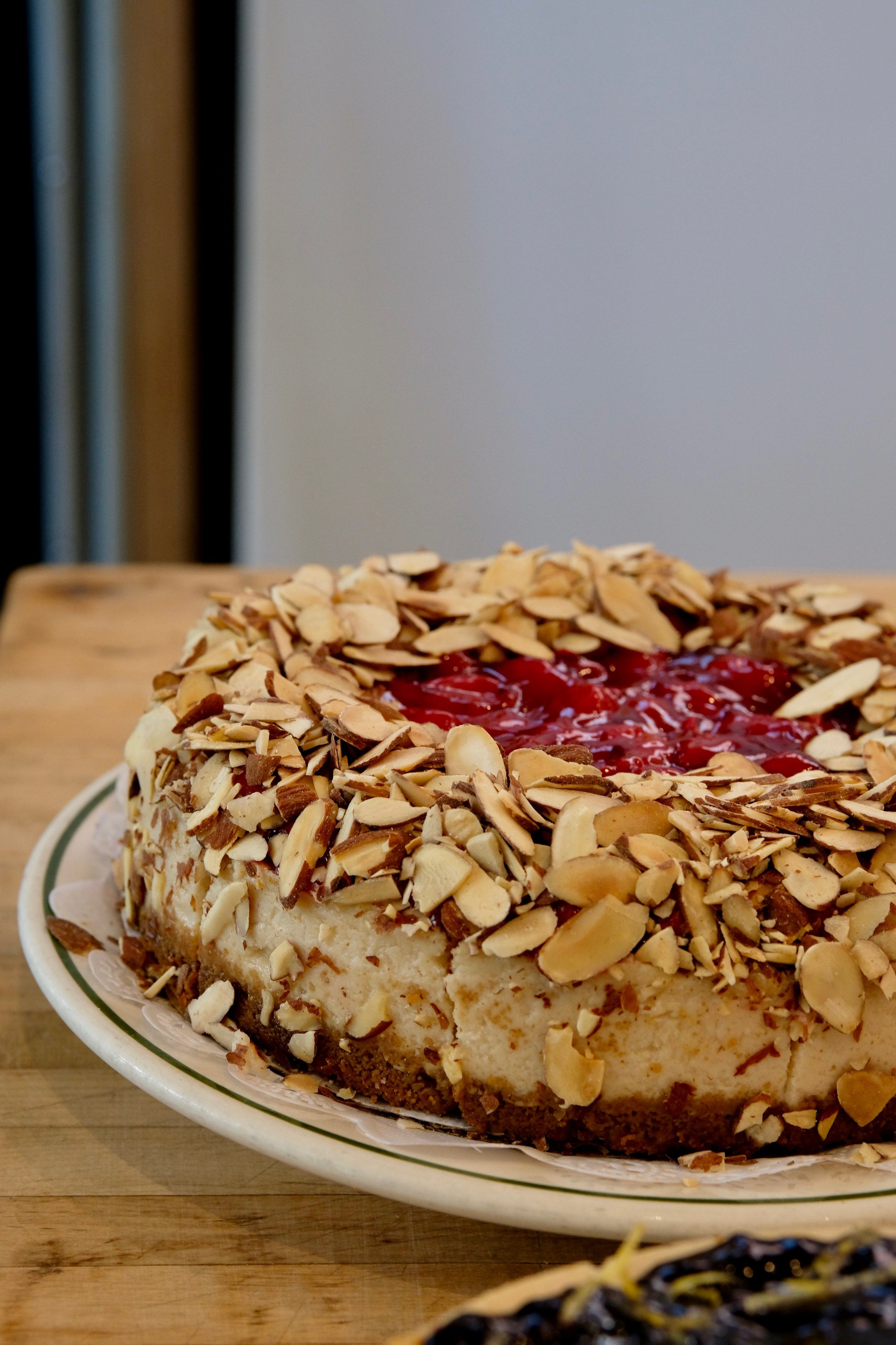 Cherry almond cheesecake